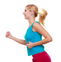 Fitness girl sport woman running jogging isolated blond young active healthy lifestyle on white studio shot Royalty Free Stock Images