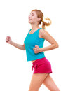 Fitness girl sport woman running jogging isolated blond young active healthy lifestyle on white studio shot Stock Image