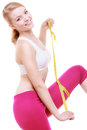 Fitness girl sporty woman measuring her thigh isolated Stock Photo