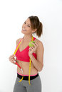 Fitness girl succeeding diet isolated Royalty Free Stock Photo
