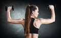 Fitness girl training shoulder muscles lifting dumbbells back view Royalty Free Stock Photo