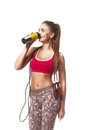 Fitness girl white isolated background Royalty Free Stock Photo