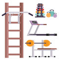 Fitness gym club vector icons athlete and sport activity body tools wellness dumbbell equipment