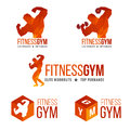 Fitness gym logo (Men's muscle strength and weight lifting) Royalty Free Stock Photo