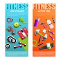 Fitness Gym Vertical Banners Set
