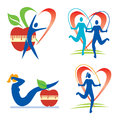 Fitness health icons with and healthy lifestyle activities and symbols vector illustration Royalty Free Stock Photo