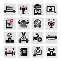 Fitness and health icons set elegant Royalty Free Stock Photos
