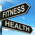 Fitness Health Signpost Shows Work Out And Wellbeing Stock Photography