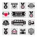 Fitness icons elegant and health set Stock Photos