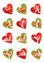 Fitness icons heart shape with and healthy lifestyle activities in vector illustration Stock Photos