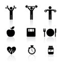 Fitness icons over white background vector illustration Royalty Free Stock Image