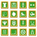 Fitness icons set green