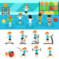 Fitness infographic elements flat vector illustration, horizontal banners design. Group of people exercising in the gym