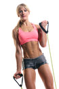 A fitness instructor with exercise bands Royalty Free Stock Photo