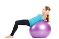 Fitness instructor,shows exercises with a large ball. Royalty Free Stock Photo