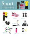 Fitness isolated icons set and banner. Sport