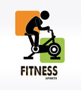 Fitness label over white background vector illustration Royalty Free Stock Photos