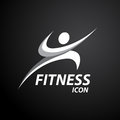 Fitness logo with abstract healthy body wellness icon. Vector illustration