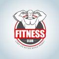 Fitness logo template. Gym club logotype. Sport Fitness club creative concept