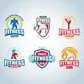 Fitness logo template. Gym club logotypes. Sport Fitness club creative concepts.