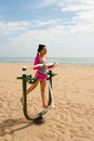 Fitness machine on beach Royalty Free Stock Photo