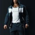 Fitness male model in sweatshirt Royalty Free Stock Photo