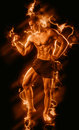 Fitness man on black with fire Royalty Free Stock Photo