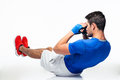 Fitness man doing abdominal exercises Royalty Free Stock Photo