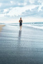 Fitness Man Running On Beach. Runner Jogging During Outdoor Workout Royalty Free Stock Photo