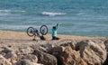 Fitness and meditating near the sea Royalty Free Stock Photo