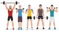Fitness men male in gym set. Healthy lifestyle guys make exercises Royalty Free Stock Photo