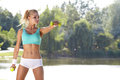 Fitness model spring outdoor training Royalty Free Stock Photos