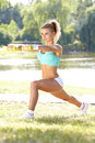 Fitness model spring outdoor training Stock Photo
