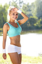 Fitness model spring outdoor training Royalty Free Stock Images