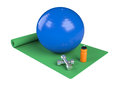 Fitness one green mat with a ball water bottle and dumbbell d render Stock Photos