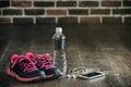 Fitness running sports equipment, sneakers water phone music, he Royalty Free Stock Photo