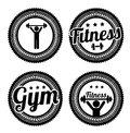 Fitness seals over gray background vector illustration Stock Photos
