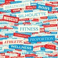 Fitness seamless pattern concept related words in tag cloud conceptual info text graphic word collage Stock Images