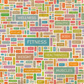 Fitness seamless pattern concept related words in tag cloud conceptual info text graphic word collage Stock Photo