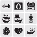 Fitness set black icons on white Royalty Free Stock Image