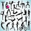 Fitness set of people sport silhouettes women Stock Photo