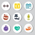 Fitness set vector of icons Royalty Free Stock Photography