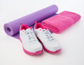 Fitness shoes and towel for sweat to hydrate after workout sweat Stock Images