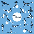 Fitness silhouettes. fitness exercises concept. Royalty Free Stock Photo