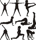 Fitness - silhouettes Royalty Free Stock Photo