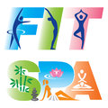 Fitness spa sign icons words fit and decorated with and theme vector illustration Stock Image
