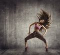 Fitness Sport Dance, Woman Dancer Flying Hair Dancing, Concrete Royalty Free Stock Photo