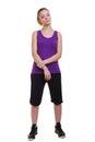 Fitness sport woman portrait, studio shot isolated