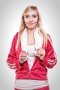 Fitness sport woman white towel on shoulders studio shot portrait smiling happy female sporty girl with Royalty Free Stock Photos