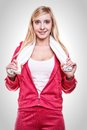 Fitness sport woman white towel on shoulders studio shot portrait smiling happy female sporty girl with Royalty Free Stock Photo